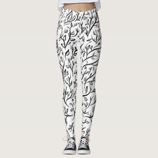 Black White Nature Tree of Life Leaves Leggings