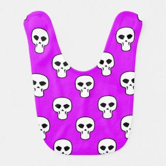 Black, White, Neon Purple Skulls Pattern Bib