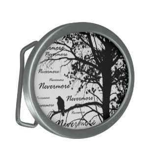 Black & White Nevermore Raven Silhouette Belt Buckles