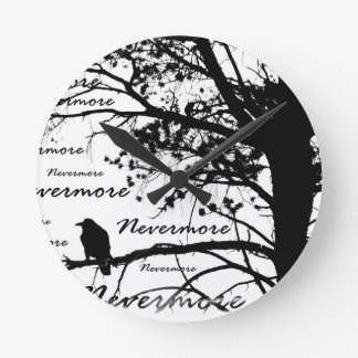 Black & White Nevermore Raven Silhouette Round Clock