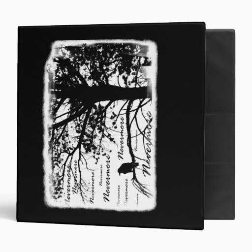 Black & White Nevermore Raven Silhouette Tree Vinyl Binder