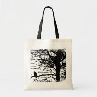 Black & White Nevermore Raven Silhouette Tree Budget Tote Bag
