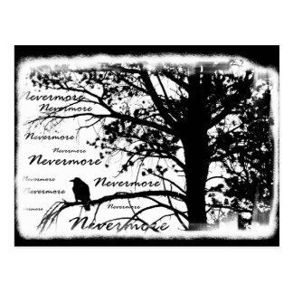 Black White Nevermore Raven Silhouette Tree Postcard