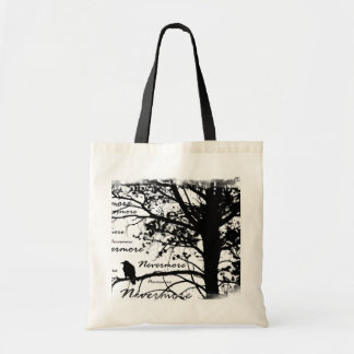 Black & White Nevermore Raven Silhouette Tree Tote Bag