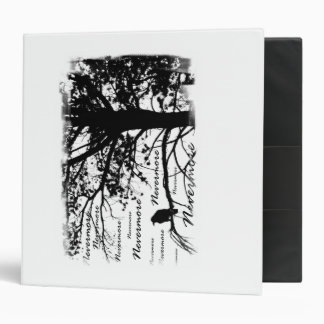 Black & White Nevermore Raven Silhouette Tree Vinyl Binders