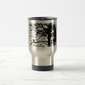 Black & White Nevermore Silhouette Raven Travel Mug