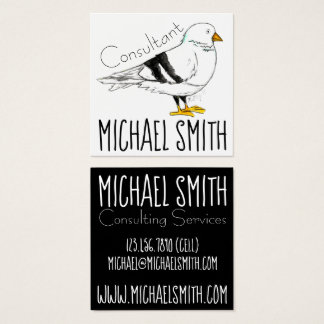 Black White New York City Pigeon Seagull Bird NYC Square Business Card
