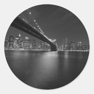 Black White New York City Skyline Classic Round Sticker