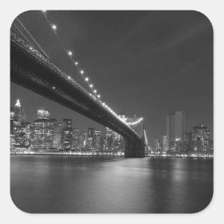 Black White New York City Skyline Square Sticker
