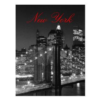 Black & White New York Red Script Post Card