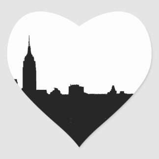 Black & White New York Silhouette Heart Sticker