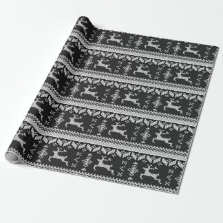 Black & White Nordic Style Winter Reindeer Wrapping Paper