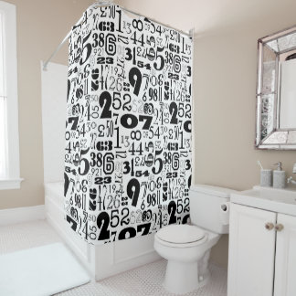 Black & White Numbers Shower Curtain