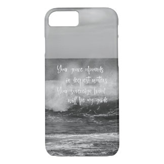 Black & White Ocean with Christian Quote iPhone 7 Case