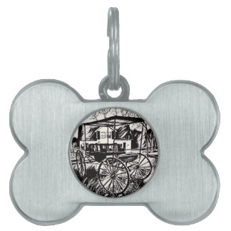Black White Old Time Carriage Pet Name Tag