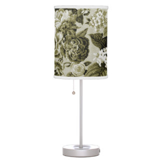 Black & White Olive Green Botanical Floral Toile Table Lamp