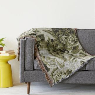 Black White Olive Green Tone Vintage Floral Toile Throw Blanket