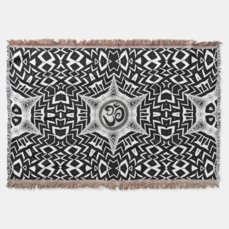Black+White Om Star Trip Mandala Throw Blanket
