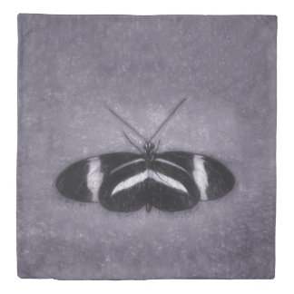 Black, White On Purple Sketch Butterfly Duvet Cover