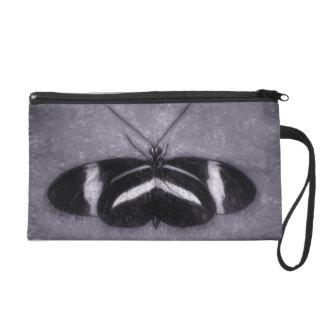 Black, White On Purple Sketch Butterfly Wristlet