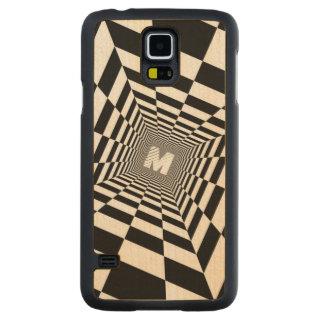 Black & White Optical Illusion, White Monogram Carved Maple Galaxy S5 Case