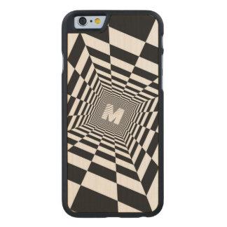 Black & White Optical Illusion, White Monogram Carved Maple iPhone 6 Case