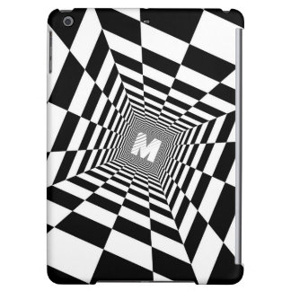 Black & White Optical Illusion, White Monogram Case For iPad Air