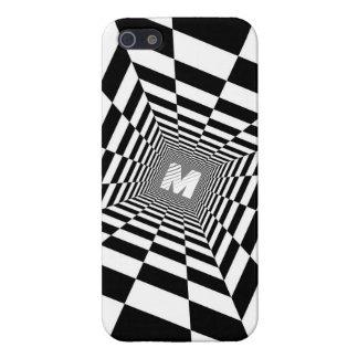 Black & White Optical Illusion, White Monogram Case For The iPhone 5