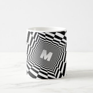 Black & White Optical Illusion, White Monogram Coffee Mug