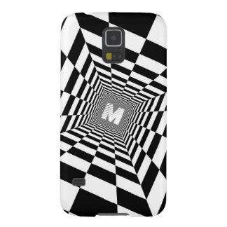 Black & White Optical Illusion, White Monogram Galaxy S5 Cover