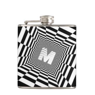 Black & White Optical Illusion, White Monogram Hip Flask