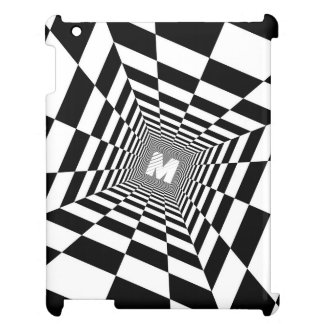 Black & White Optical Illusion, White Monogram iPad Cases