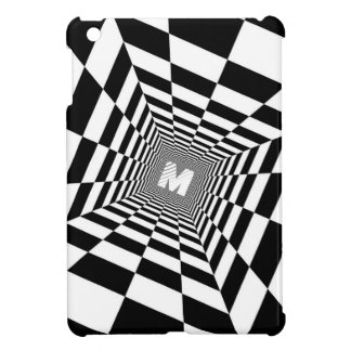 Black & White Optical Illusion, White Monogram iPad Mini Case
