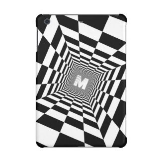 Black & White Optical Illusion, White Monogram iPad Mini Cover