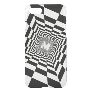 Black & White Optical Illusion, White Monogram iPhone 8/7 Case