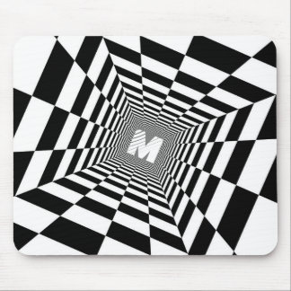 Black & White Optical Illusion, White Monogram Mouse Pad