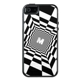 Black & White Optical Illusion, White Monogram OtterBox iPhone 5/5s/SE Case