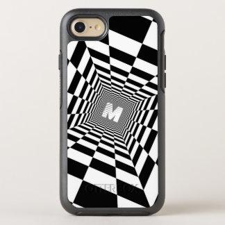 Black & White Optical Illusion, White Monogram OtterBox Symmetry iPhone 8/7 Case