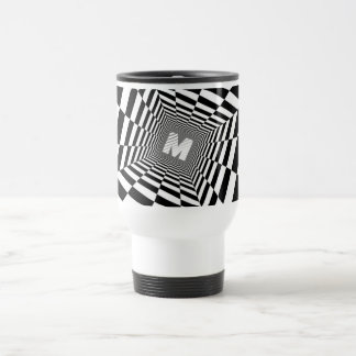 Black & White Optical Illusion, White Monogram Travel Mug
