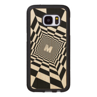 Black & White Optical Illusion, White Monogram Wood Samsung Galaxy S7 Case