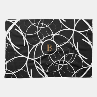 Black & White (orange monogram) | Kitchen Towel