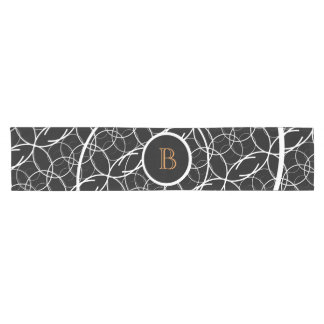 Black & White (orange monogram) | Table Runner