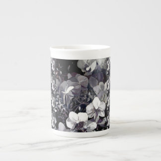 Black White Orchid Multi Stripe Tea Cup