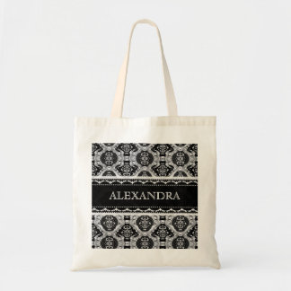 Black & White Ornate Baroque Pattern -Monogram Tote Bag