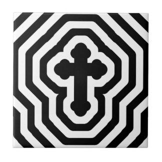 Black & White Ornate Cross with Concentric Stripes Ceramic Tile