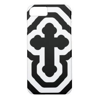 Black & White Ornate Cross with Concentric Stripes iPhone 7 Case
