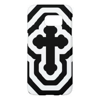 Black & White Ornate Cross with Concentric Stripes Samsung Galaxy S7 Case