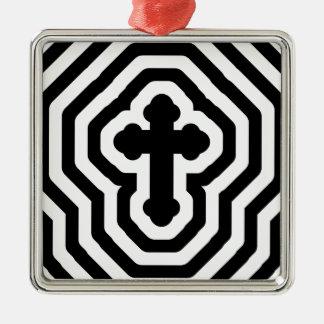 Black & White Ornate Cross with Concentric Stripes Silver-Colored Square Ornament