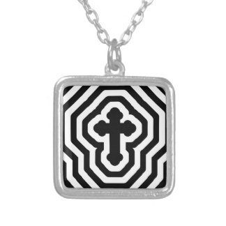 Black & White Ornate Cross with Concentric Stripes Silver Plated Necklace