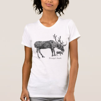 Black & White Ornate Floral Moose T Shirt